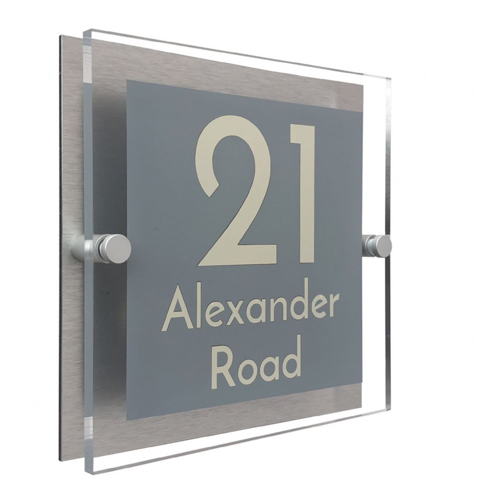 Block Shape - Clear Acrylic House Sign - Mid Grey Colour with Double Cream text in Font  3